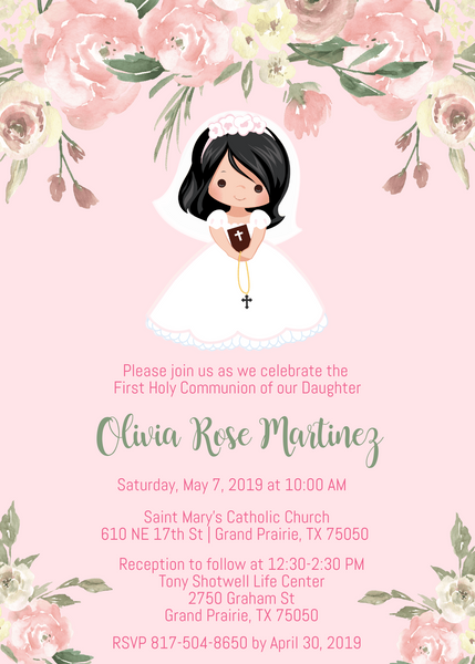 Girl First Communion Invitations - Black Hair