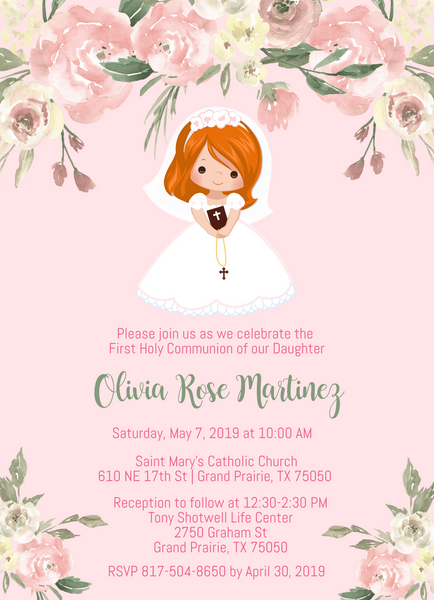 Girl First Communion Invitations - Red Hair