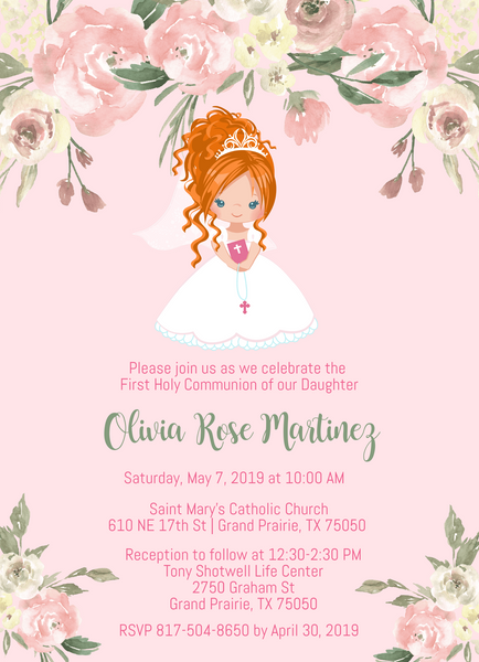 Floral Girl First Communion Invitations - Red Hair