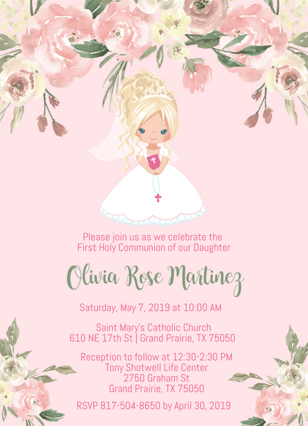 Floral Girl First Communion Invitations - Blonde