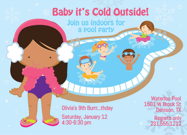 Girls Indoor Pool Party Birthday Invitation - Tan