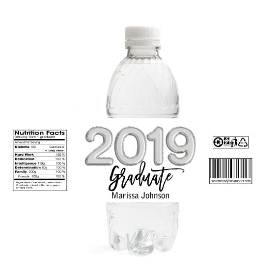Foil Balloons Graduation Water Bottle Labels - Silver