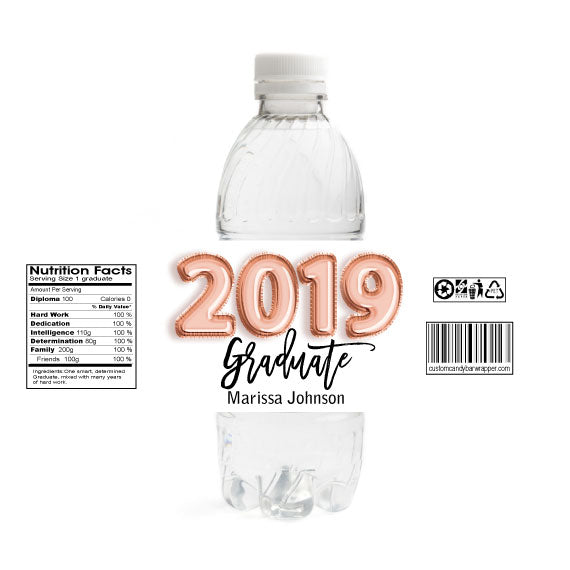 Foil Balloons Graduation Water Bottle Labels - Rose Gold