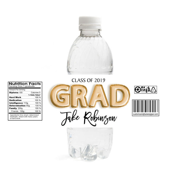 Foil Grad Graduation Water Bottle Labels - Gold