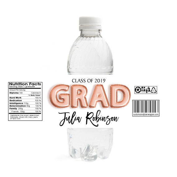 Foil Grad Graduation Water Bottle Labels