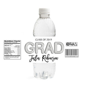 Foil Grad Graduation Water Bottle Labels - Silver