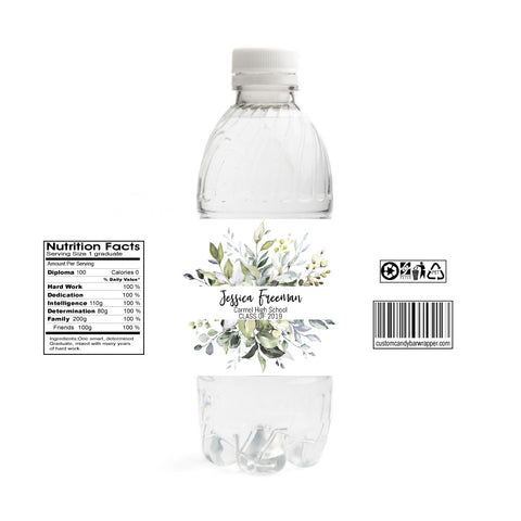 Greenery Graduation Water Bottle Labels