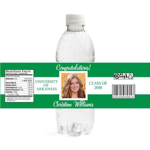 Photo Graduation Water Bottle Label