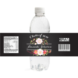 Floral Graduation Bottle Label