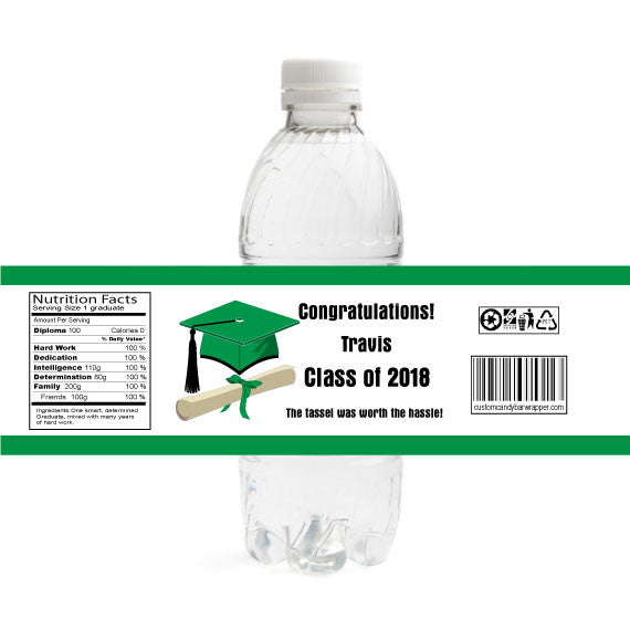 Cap and Scroll Graduation Bottle Label