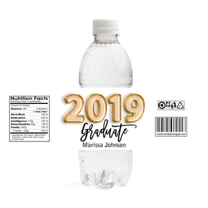 Foil Balloons Graduation Water Bottle Labels