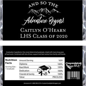 Adventure Begins Graduation Candy Bar Wrappers