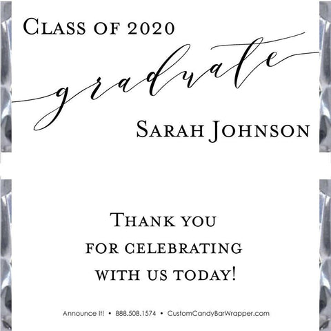 Calligraphy Graduation Candy Bar Wrappers
