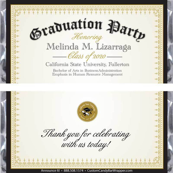 Diploma Graduation Candy Bar Wrappers