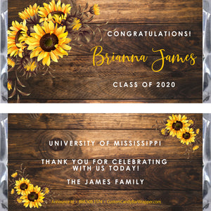 Sunflower Graduation Candy Bar Wrappers