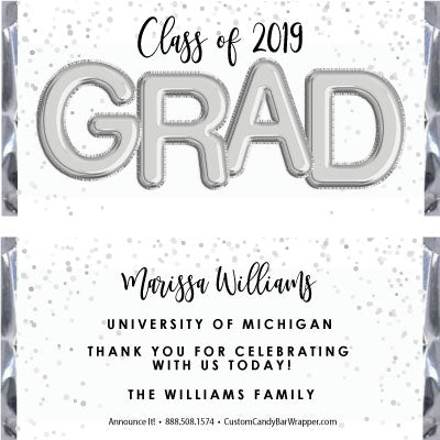 Foil Grad Graduation Candy Bar Wrappers - Silver
