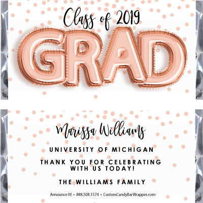Foil Grad Graduation Candy Bar Wrappers - Rose Gold
