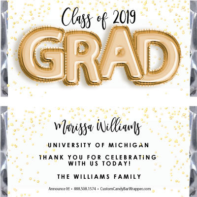 Foil Grad Graduation Candy Bar Wrappers - Gold