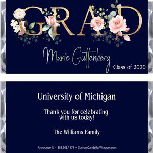 Damask Graduation Candy Bar Wrappers