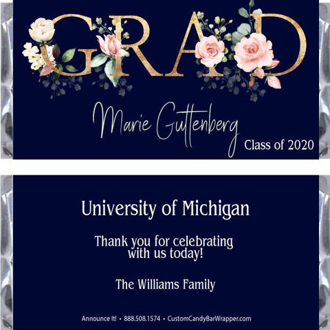Floral Grad Graduation Candy Bar Wrappers