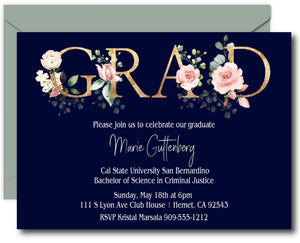 Floral Grad Graduation Announcements
