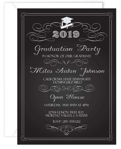Chalkboard Graduation Invitations