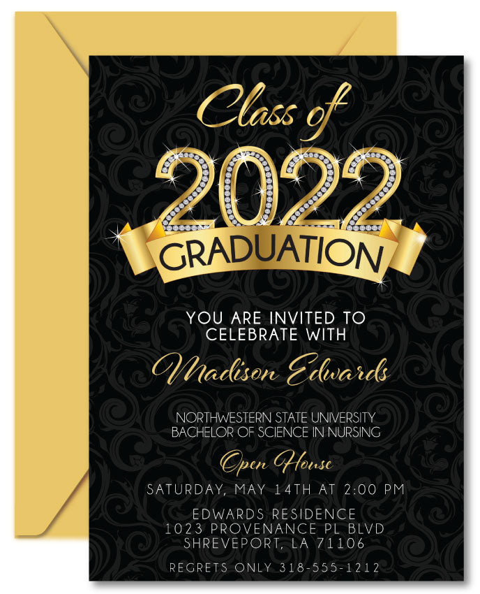 Gold Diamond Graduation Invitations