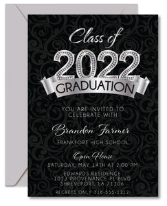 Silver Diamond Graduation Invitations