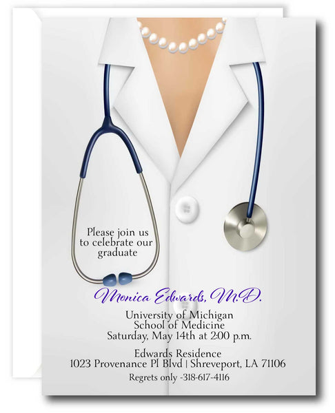 Female Doctor Graduation Invitation