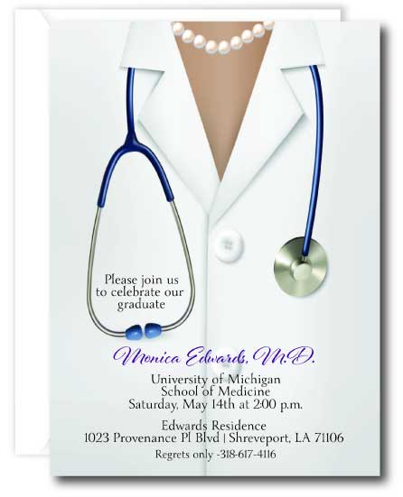 Doctor Graduation Invitation Female Tan
