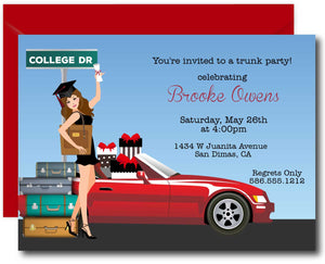 Graduation College Trunk Party Invitations - Brunette