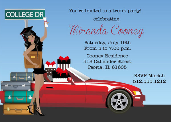 Graduation Trunk Party Invitations African American
