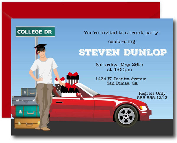 Male college Trunk Party Invitations Blonde