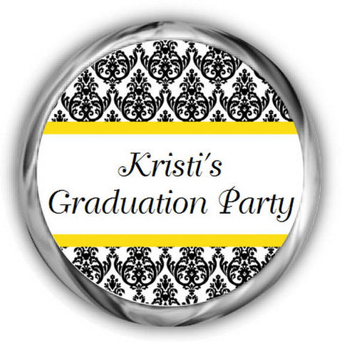 Damask Graduation Kisses Stickers