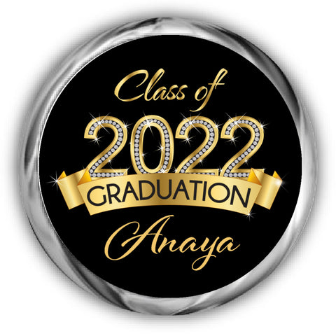 Gold Diamond Graduation Kisses Stickers