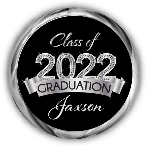 Silver Graduation Kisses Stickers