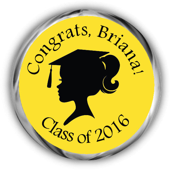 Silhouette Girl Graduation Kisses Stickers