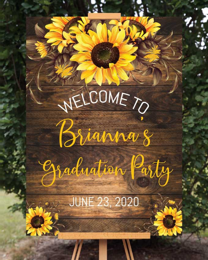 Sunflower Graduation Welcome Sign