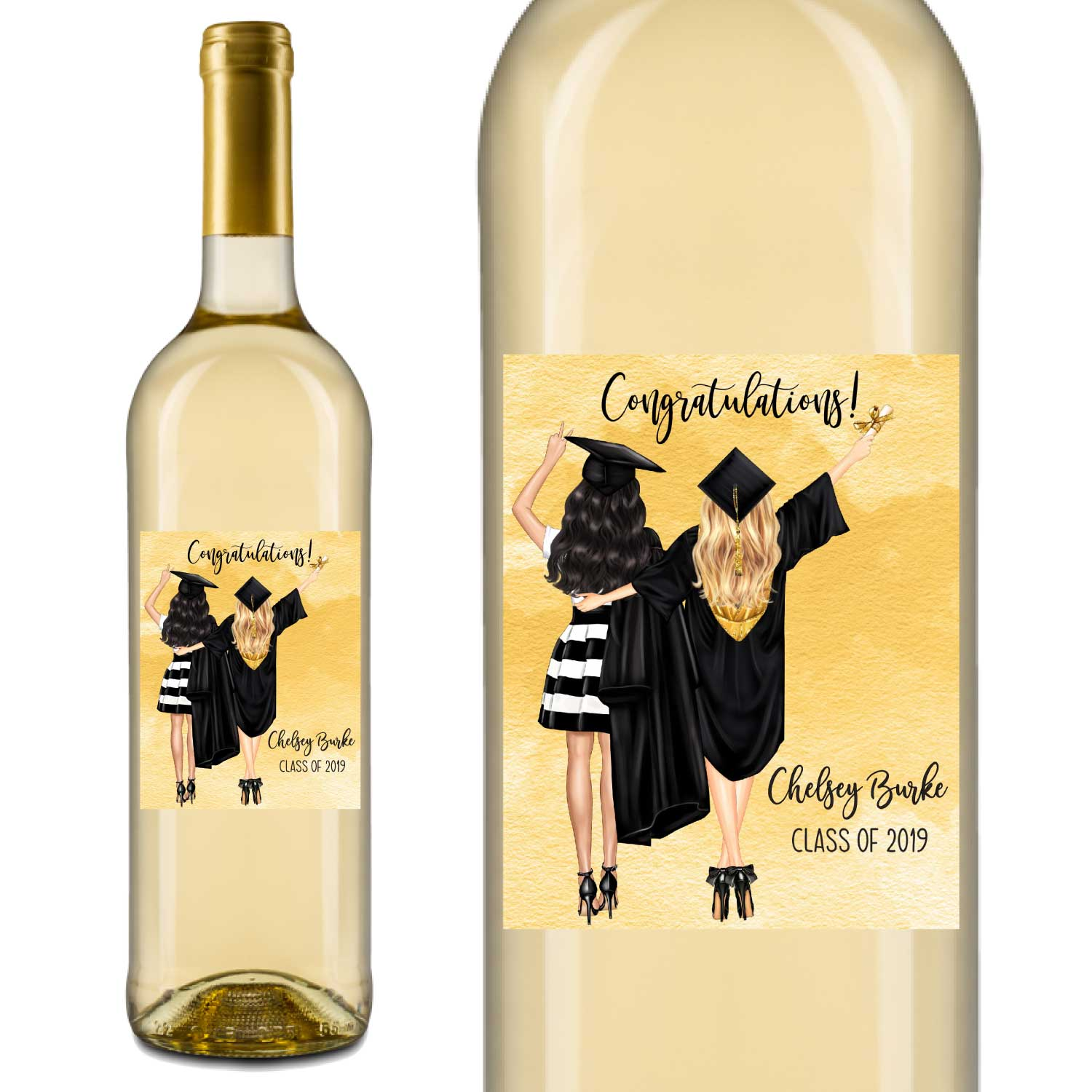 Modern Graduation Wine Labels