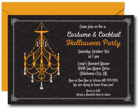 Chandelier Halloween Invitation