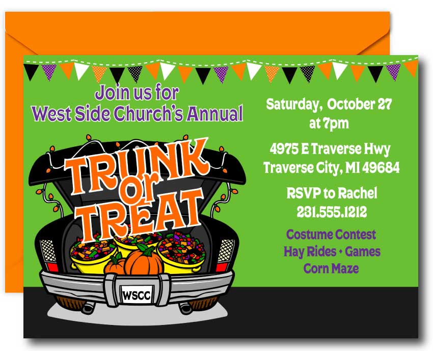 Trunk or Treat Halloween Invitations