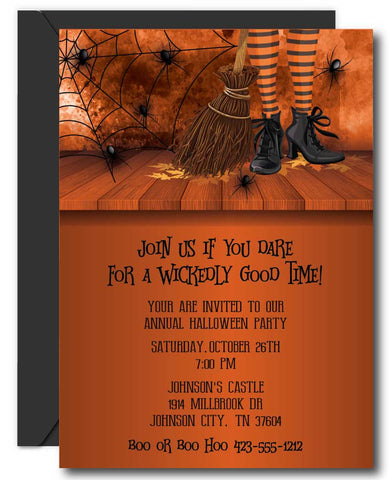 Witches Feet Halloween Party Invitations