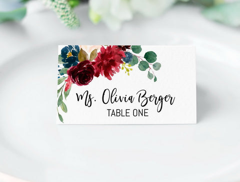 Marsala Place Cards Printable