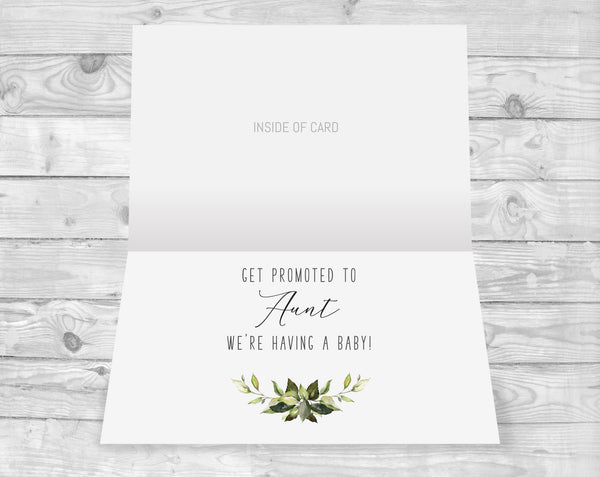 Inside Greenery Pregnancy Announcement Card for Sister