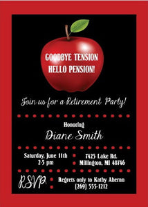 Apple Teacher Retirement Party Invitation