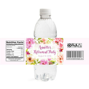 Watercolor Retirement Water Bottle Labels