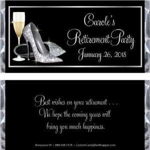 Silver Glitter Shoes Retirement Candy Bar Wrappers