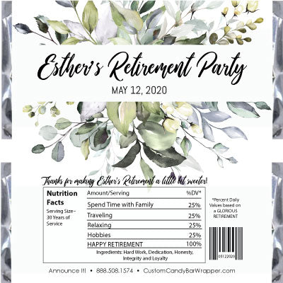Greenery Retirement Candy Bar Wrappers