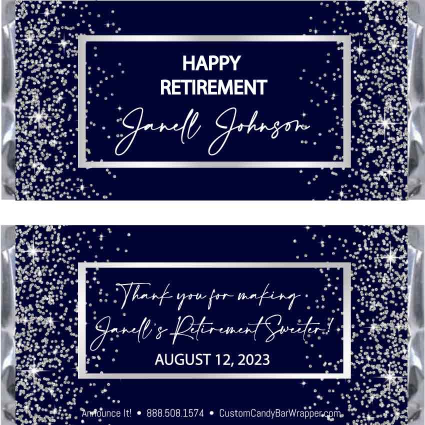 Elegant Retirement Candy Bar Wrappers