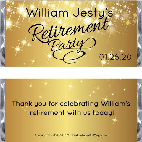 Sparkly Gold Retirement Candy Bar Wrappers